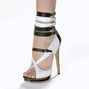 White and Brown Platform Sandals Buckles Peep Toe Stiletto Heels