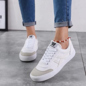 White and Grey Lace up Hui Li Sneakers for Women