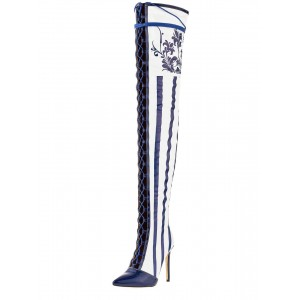 white and Navy Stripes Floral Thigh High Lace Up Boots