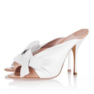 Women's White Peep Toe Stiletto Heels Mules Sandals with Bow