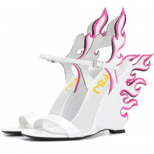 White and Pink Wedge Heels Flame Style Sandals