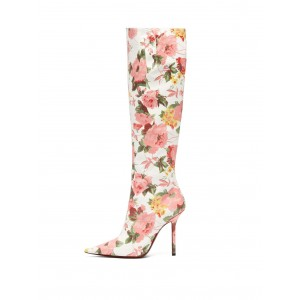 White and Pink Floral Fashion Boots Stiletto Heel Knee-high Boots