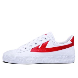 White and Red Lace up Hui Li Sneaker for Women