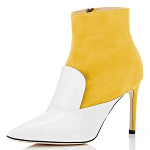 White and Yellow Stiletto Boots Ankle Boots