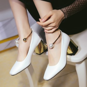 White Ankle Strap Heels Cute Block Heel Pumps with Pearls
