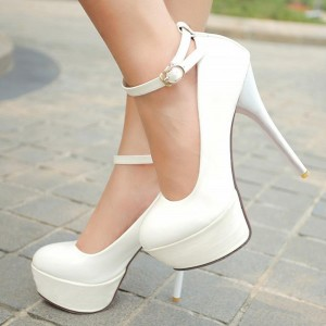 Women's White Ankle Strap Buckle Stiletto Heels Pumps Shoes