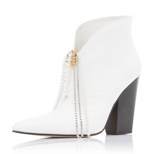 White Block Heel Pearl Chain Fashion Boots Ankle Boots