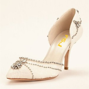 Ivory Rhinestone Lace Heels Bridal Shoes Low Heel Double D'orsay Pumps