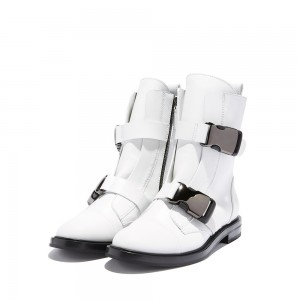 White Buckle Flat Boots Ankle Boots
