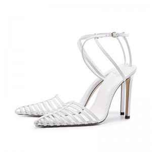 White Cross Over Ankle Strap Stiletto Heels Sandals