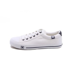 White Canvas Hui Li Lace up Sneakers School Shoes