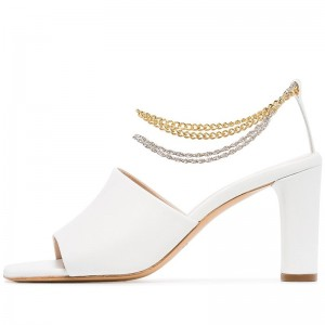 White Chain Ankle Strap Sandals Open Toe Chunky Heel Sandals