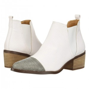 White Chelsea Boots Iron Nets Block Heel Ankle Boots