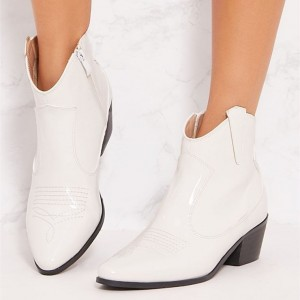 White Chunky Heel Boots Zipper Ankle Booties