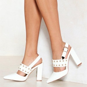 White Chunky Heels Pointy Toe Slingback Pumps with Studs