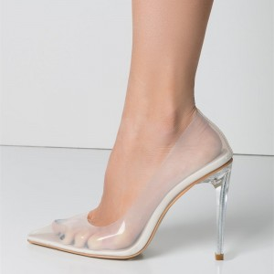 White See Through Clear Heels Pointy Toe Perspex Stiletto Heel Pumps