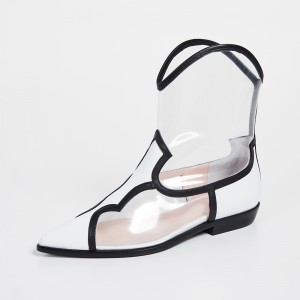 White Clear PVC Western Boots Flat Ankle Boots