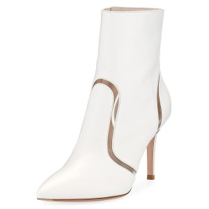 White Clear Stripes Pointy Toe Stiletto Heel Ankle Booties