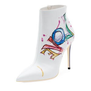 White Colorful Doodles Stiletto Heel Ankle Booties