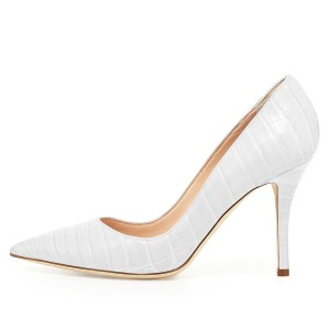 White Croc Style Stiletto Heels Pumps