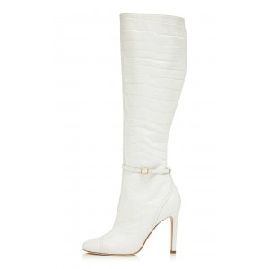 Women's White Croc Vegan Leather Knee Boots with Buckle