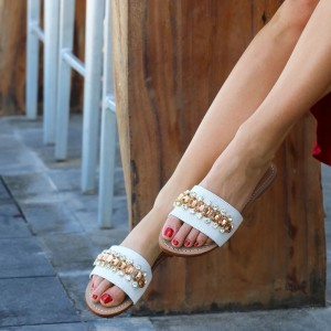 White Canvas Rhinestone Jeweled Sandals Flats Sandals