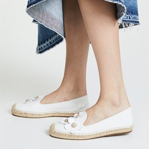 White Espadrille Round Toe Comfortable Flats with Rhinestone Flowers