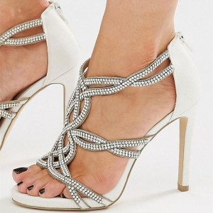 White Wedding Heels Rhinestone Open Toe Stiletto Heel Sandals