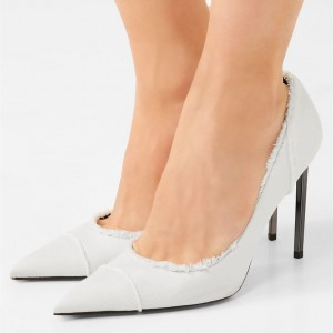 White Fabric Pointy Toe Low Cut Upper Stiletto Heels Pumps