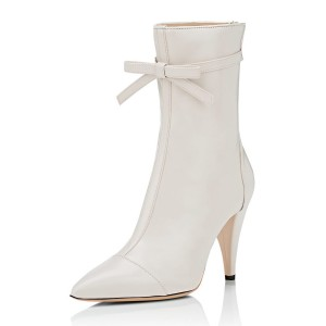 White Fashion Boots Lace Bowknot Pointed Toe Mid-calf Boots