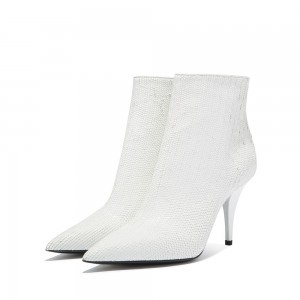 White Fish Scale Fashion Boots Stiletto Heel Ankle Boots