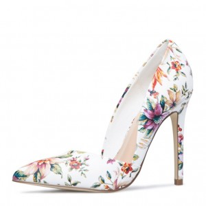 White Floral Heels Pointed Toe Stiletto Heels Pumps