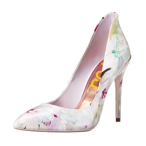 FSJ White Floral Heels Vegan Pointy Toe Stiletto Heel Pumps