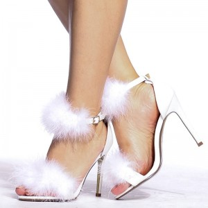 Women's White Fluffy Feather Suede Stiletto Heels Ankle Strap Sandals