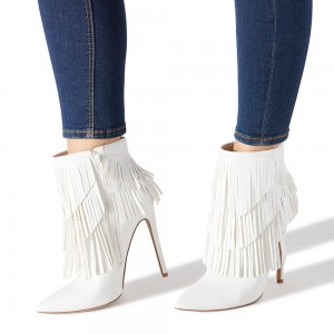 White Fringe Boots Stiletto Heel Ankle Boots