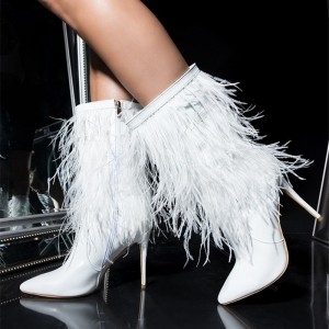 White Fur Boots Pointy Toe Stiletto Heels Ankle Booties