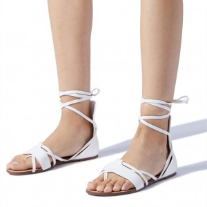 White Gladiator Sandals Open Toe Flats Strappy Sandals