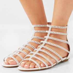 White Hollow out Gladiator Sandals Open Toe Vintage Summer Sandals