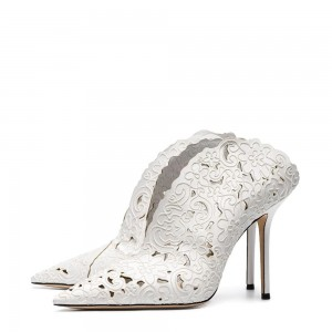 White Hollow Out Mule Heels
