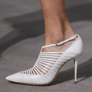 White Hollow out Summer Boots Pointy Toe Stiletto Heels Ankle Booties