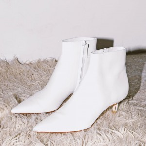 White Kitten Heel Boots Ankle Boots