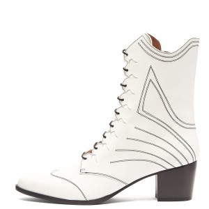 White Lace Up Boots Block Heel Ankle Booties