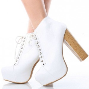 White Lace up Boots Chunky Heels Platform Ankle Boots