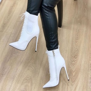 White Lace Up Boots Stiletto Heel Pointy Toe Ankle Boots