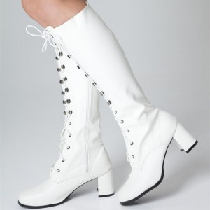 White Lace up Chunky Heel Boots Mid Calf Long Boots