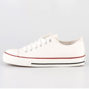 White Lace up Hui Li Sneakers Canvas School Shoes