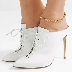 White Lace up Mule Heels Pointy Toe Stiletto Heels for Women