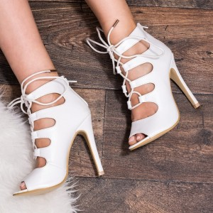 White Lace up Peep Toe Summer Boots Stiletto Heel Sandals