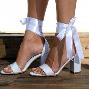 White Lace up Wedding Sandals Open Toe Strappy Block Heels