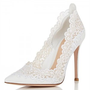 White Lace Wedding Heels Pumps